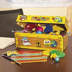 Let kids pick out fun toys and colorful school supplies for a job well done! Perfect for classroom rewards, this School Treasure Chest Assortment . Class Incentives, Classroom Incentives, Student Rewards, Treasure Boxes, Treasure Chest, Teaching Supplies, School Supplies, Teaching Ideas, Teacher Awards