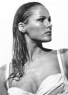 "Ursula Andress, born in Sweden, March 1936. She became the first Bond girl, and the object of James Bond's desire, as Honey Ryder, the shell diver, in ""Dr. No"" (1962). Andress became involved with James Dean shortly before his death in 1955, and was married to John Derek from 1957-66. One of her longest affairs was with French actor Jean-Paul Belmondo."