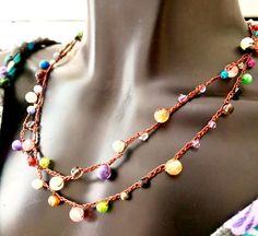 Crochet Necklace Wrap Necklace Boho Chic Jewelry Handmade