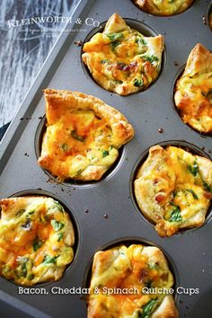 Bacon Cheddar & Spinach Quiche Cups are a perfect, savory brunch recipe…