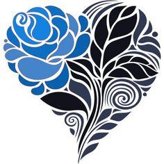 Blue Rose In Heart Tattoo Design