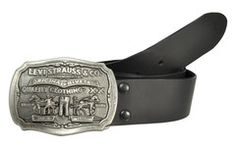 Levi's Removable Antique Logo Plaque Buckle Smooth Leather Belt