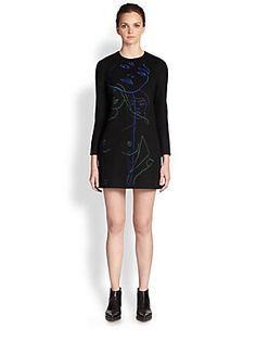 Stella McCartney Squiggle Face Wool Mini Dress