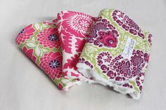 Baby Girl Burp Cloth Set of Heirloom Flower by SugarPlumLaneBaby, $24.00