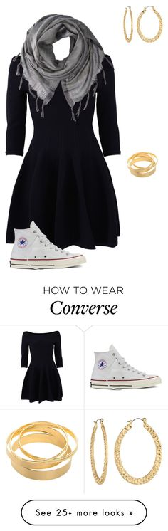 """""""This tom girl dressed up"""" by haileyvontz on Polyvore featuring Jonathan Simkhai, Love Quotes Scarves, Fragments and Converse"""
