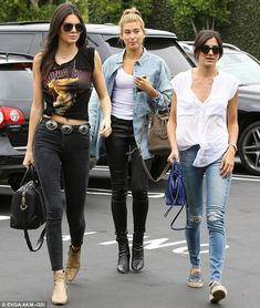 Back with her BFFs: The 19-year-old was joined by best friend Hailey Baldwin and another p...