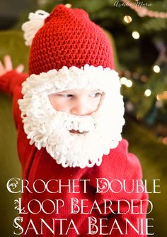 free pattern for this crochet double loop bearded santa beanie