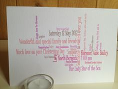 Personalised Custom made card Shades of PINK by weheartcards