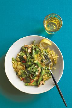 Lemony Minted Asparagus with Saffron Rice Recipe | Vegetarian Times