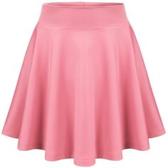 BIADANI Women Basic Flared Versatile Stretch Skater Skirt ($11) ❤ liked on Polyvore featuring skirts, circle skirt, stretch skirt, skater skirt, flare skirt and pink circle skirt