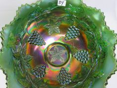 Fenton GREEN Wreath of Roses 8pc punch set Fenton Glassware, Green Wreath, Carnival Glass, Punch, Auction, Roses, Wreaths, Antiques, Color