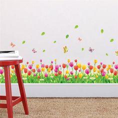 Colorido tulipa flores cercas rodapé adesivos de parede em casa adesivos decorativos adesivos de paredes sala quarto arte da parede 3d 053. em Adesivos de parede de Home & Garden no AliExpress.com | Alibaba Group