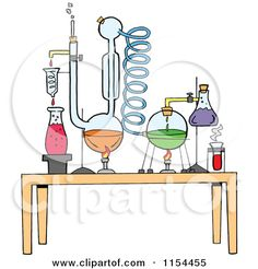 Cartoon of a Chemistry Set in a Science Lab - Royalty Free Vector ...