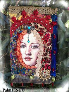 Ascended Master Idea....Fabric Prayer flag /wall hanging Sun Goddess by Athena03 on Etsy, $85.00