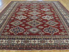 "Buy 8'5""x10'5"" Red Geometric Design Super Kazak Hand Knotted Rug  #rug #rugstore #rugsale #arearug #rugcleaning #rugwash #rugshopping #rugrepair #carpetcleaning"