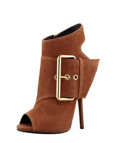 Open-Toe Side-Buckle Ankle Boot, Brown by Giuseppe Zanotti at Bergdorf Goodman.