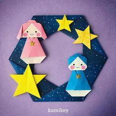 """そろそろ七夕ディスプレイに変えてもいいころ? 「おりひめ ひこぼし」の作り方動画は、YouTubeの""""kamikey origami""""でご覧ください(プロフィールにリンクがあります) July 7th is Tanabata(the Star festival )in Japan Wreath designed by me Tutorial on YouTube """"kamikey origami """" #origami #折り紙#kamikey"""