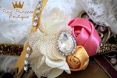 One in a Million} Headband, Baby Headband, Couture Headband, Photography Prop, Burlap Headband, Flower Headband, Ivory Gold and Coral