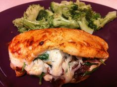 Spinach, Bacon, and Cheese Stuffed Chicken Breast with Steamed Broccoli
