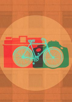 Dos placeres del viajero: bicis y fotos. Cycling Art, Cycling Bikes, Bicycle Illustration, Illustration Art, Bike Design, Design Art, Bicycle Store, Gear Art, Bike Poster