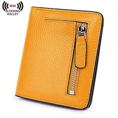 Yellow Leather RFID Blocking Compact Bifold Wallet Best Christmas Gift For Girls #AINIMOER