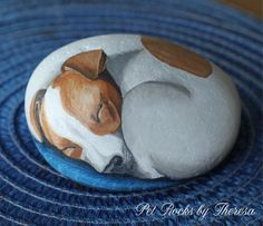Painted Rock  Dog  Jack Russell Terrier  Acrylic Painting  Dog Portrait One of a Kind Pet Rocks by PetRocksbyTheresa on Etsy