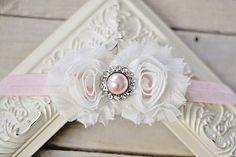 White & Pink Chiffon Pearl Flower Headband
