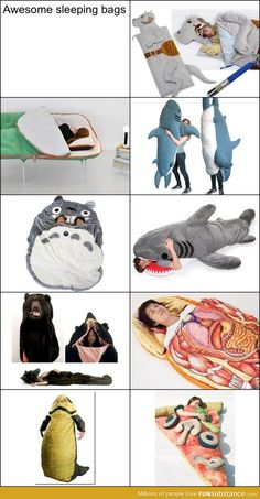 Sleeping bags and I obviously want the pizza one