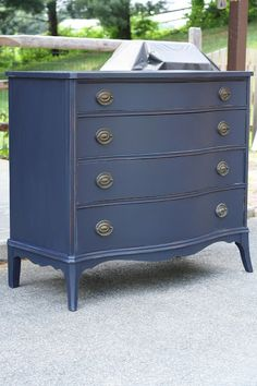 Dresser painted with General Finishes Milk Paint from Rockler in Coastal Blue. Dresser painted with General Finishes Milk Paint from Rockler in Coastal Blue. Refurbished Furniture, Paint Furniture, Repurposed Furniture, Furniture Projects, Furniture Makeover, Bedroom Furniture, Indigo Furniture, Primitive Furniture, Modern Furniture