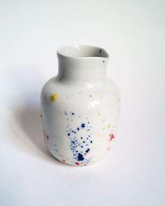 "Pot porcelain collection ""Pollen"". Small pitcher, pot milk or vase, handmade in my Studio -  AurelieDorard"