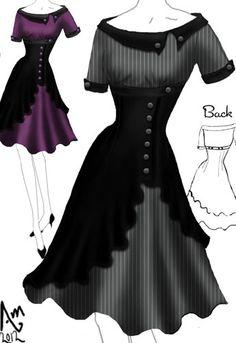 Retro Swing Side Button Dress