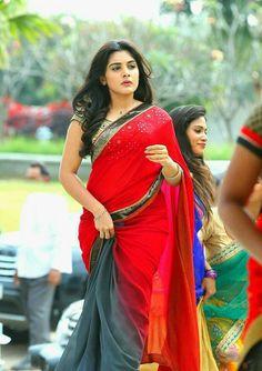 nivetha thomas in red saree