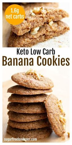 These healthy banana cookies are super moist, soft and fluffy! Imagine banana bread turned into a cookie and you get the idea. My sugar free banana cookies use real banana, yet they are perfectly keto. Only 1.6g net carbs per cookie! #healthybananacookies #ketobananacookies #sugarfreebananacookies #bananacookies #ketocookies Cheesecake Oreo, Cheesecake Recipes, Dessert Recipes, Dinner Recipes, Easy Gluten Free Desserts, Sugar Free Desserts, Low Carb Sweets, Low Carb Desserts, Healthy Desserts