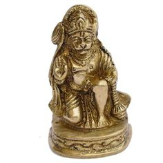 Brass figure of HanumanDimensions: 3.81 cm x 2.54 cm x 6.99 cmTake home a Hindu puja, or use them as decoration or collectibleHandmade by metal craftsmen from Moradabad, Uttar Pradesh in northern India.Religious and decorative figurinesThis item can be shipped to