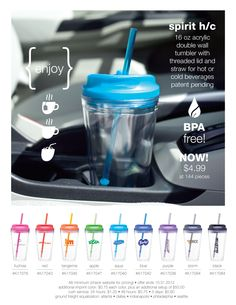 spirit H/C - 16 oz acrylic double wall tumbler with threaded lid and straw for hot or cold beverages - patent pending.