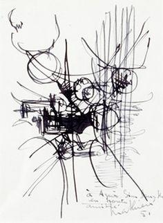 COMPOSITION, 1951  Ink on paper 16 x 12,1 cm
