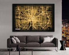 COLUMBUS Ohio Night Lights Map Large Horizontal Wall Art Map