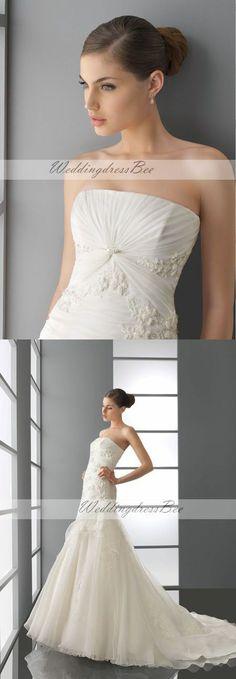 Pretty A-line dropped waist organza wedding dress