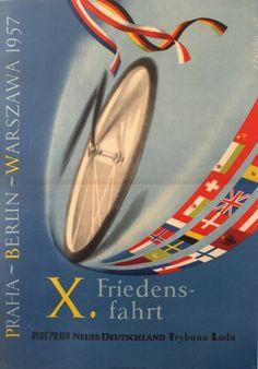 Cycling Race 1957 Prague Berlin Warsaw - original vintage poster by F Zalesak listed on AntikBar.co.uk