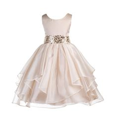 Wedding Asymmetric Ruffles Satin Organza champagne Flower girl dress sequin sash…