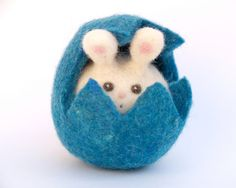 Blue Easter Bunny in a Blue Easter Egg . Needle by Fairyfolk