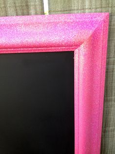 PINK Glitter FRAMED CHALKBOARD - Glitter wood frame turned Chalkboard! Perfectr for any girl bedroom. Ready to Ship on Etsy, $48.00