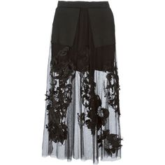 Aviù Sheer Embroidered Maxi Skirt (490 CAD) ❤ liked on Polyvore featuring skirts, bottoms, long skirts, black, ankle length skirt, sheer skirt, long sheer skirt and see-through skirts