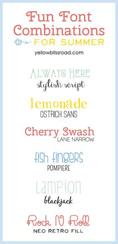 Fun Font Combinations for Summer - pairing fonts is easy with these tips!