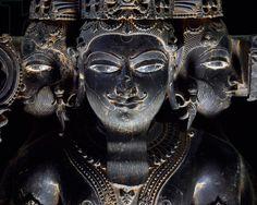 Three-headed Brahma, blue shale statue from Gwalior, Mahya Pradesh, India, detail, Indian Civilization, 11th-12th century
