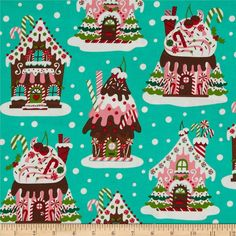 Michael Miller Holiday Santa's Farm Gingerbread Houses Aqua from @fabricdotcom  From Michael Miller, this cotton print fabric is perfect for quilting, apparel, crafts and and home décor accents. Colors include red, white, bubblegum pink, brown, green and aqua.