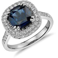 Blue Nile Cushion Sapphire Trio Pavé Halo Diamond Ring in Platinum... ($12,500) ❤ liked on Polyvore