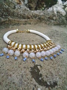 Elegant White and gold Rope Necklace /Statement Necklace/Summer necklace/ Braided necklace/ Bib necklace/ Greek goddess necklace