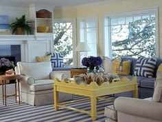Beach Cottage Sea Blues And Summer Yellows Living Room Idea I Would Like A Yellow Table