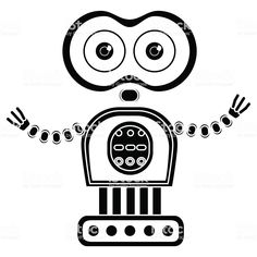 Vector black and white illustration of cute vintage robot, Silhouette. Vector Robot, Vintage Robots, Black And White Illustration, Silhouette Vector, Free Vector Art, Doodles, Abstract, Google Search, Inspire